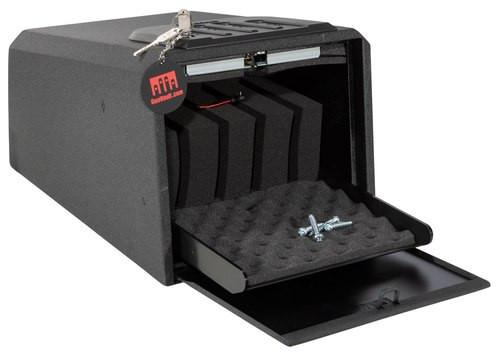 "GunVault MiniVault 2050 Gun Safe, Mechanical Illuminated Keypad/Key, 16 Ga Steel, Black, 8.125"" x 10.125"" x 14"" (Exterior)"