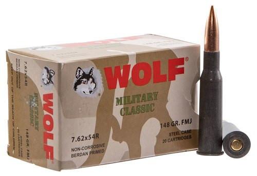 Wolf Military 7.62X54R 148gr, FMJ, 20rd Box