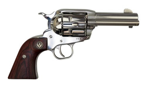 "Ruger Vaquero .357 Mag/.38 Spl, 3.75"" Barrel, Hardwood Grips, Stainless, 6rd"