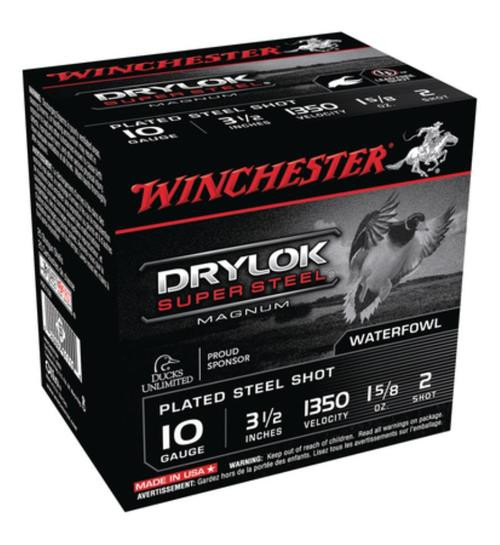 "Winchester Drylok Super Steel Magnum Waterfowl Loads Plated10 Ga, 3.5"", 1350 FPS, 1.625oz, 2 Steel Shot, 25rd/Box"