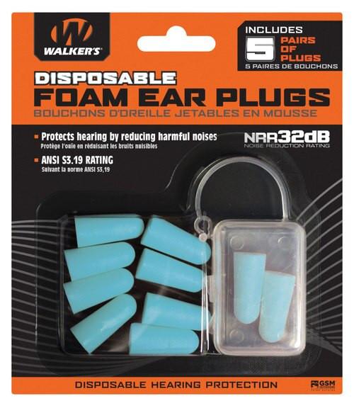 Walkers Foam Ear Plugs 32 dB Teal 5 Pack