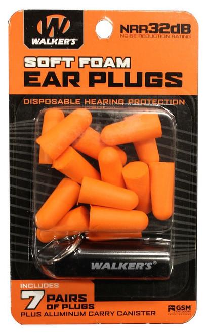 Walkers Foam Ear Plugs 32 dB Orange with Black Canister