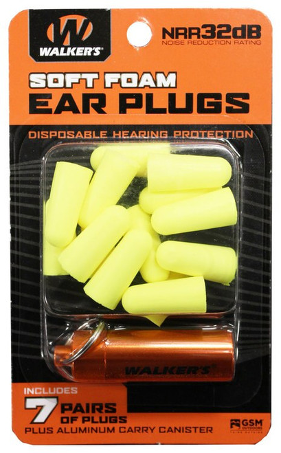Walkers Foam Ear Plugs 32 dB Hi Vis Yellow with Orange Canister