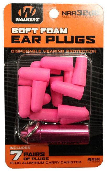 Walkers Foam Ear Plugs 32 dB Pink with Pink Canister