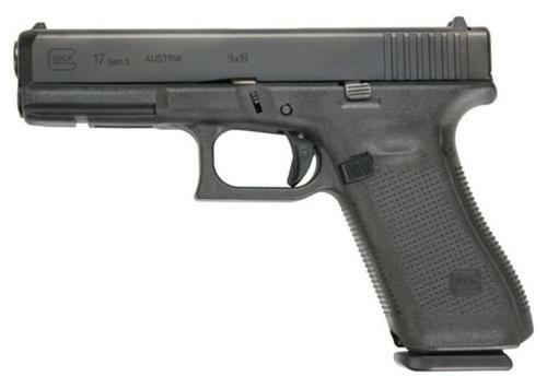 "Glock G17 Gen5 9mm, 4.49"" Barrel, Black, Modular Backstrap, 17rd Mag"