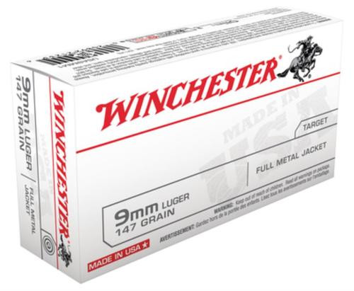 Winchester USA 9mm 147gr, Truncated Cone Full Metal Case, 50rd Box