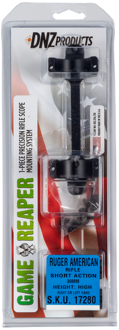 DNZ Game Reaper Ring/Base Combo Ruger American Short Action, 30mm High Black Matte Finish