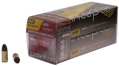Inceptor Sport & Carry Combo Pack 9mm 65gr, RNP/ARX, 125rd/Box