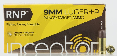 Inceptor Sport Utility 9mm +P 65gr, RNP, 50rd Box