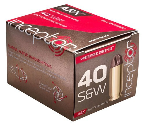 Inceptor Preferred Defense 40 S&W 88gr ARX, 20rd Box