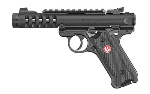 "Ruger Mark IV Lite .22 LR, 4.4"" Barrel, Black Checkered Grips, Black, 2 x 10rd Mag"