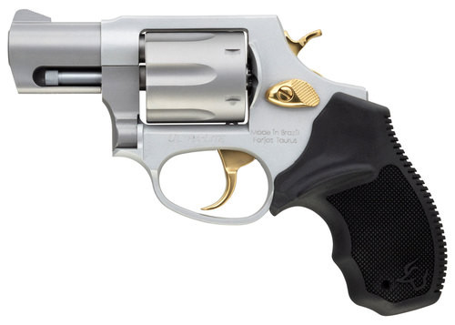 "Taurus 856 38 Special, 2"" Barrel, Black Rubber Grip Stainless Gold Accents, 6rd"