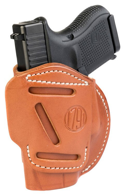 1791 Gunleather 4 Way Glock 26/25/27/29/30/33/48, Ruger LC9/SR9c/SR10/SR22, Sig P225, S&W M&P9/Shield, Walther PPS/CCP/P22 Steerhide, Classic Brown
