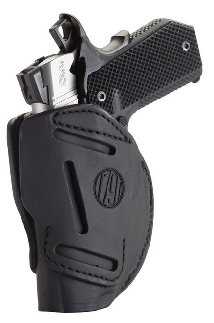 1791, 3 Way Holster, Outside Waistband Holster, Size 1, Ambidextrous, Stealth Black, Leather