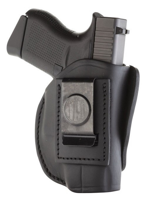 1791 Gunleather 4 Way Holster, Concealment & Belt Holster, IWB/OWB, Stealth Black Leather, Fits Glock 42/43, S&W Bodyguard, Right Hand, Size 2 4WH-2-SBL-R