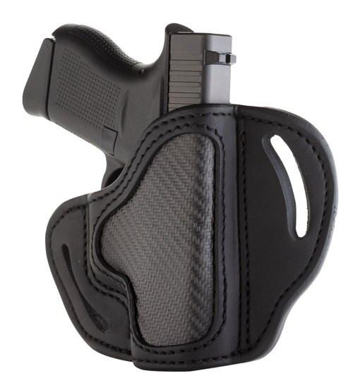 "1791 Belt Holster Carbon Fiber Black, Leather, 1911 3"", Bersa Thunder 380,Glock 42,43,43x,Kahr CW45,K9,Kimber Micro 380,Micro 9,Ultra Carry, Ruger LC9,SR22,SR1911,Sig P238, P365, Ultra Nitron / Walther PPK, etc, RH"