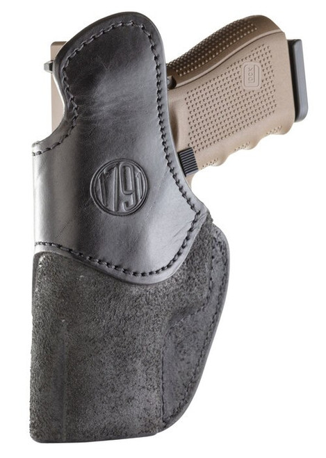 1791 RCH Rigid Concealment Holster, IWB, Black Leather, Fits Glock 17/19/22/23/25/26/27/29/30/31/33, S&W MP40/MP9/Shield, Sig P226/228/229/239, Springfield XDE/XDS, Right Hand, Size 4