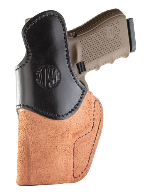1791 Gunleather RCH Rigid Concealment Holster, IWB, Brown/Black Leather, Fits Glock 26/27/28/29/30/33, Springfield XDS/XDE/XD9/XD40, Right Hand, Size 4 RCH-4-BLB-R