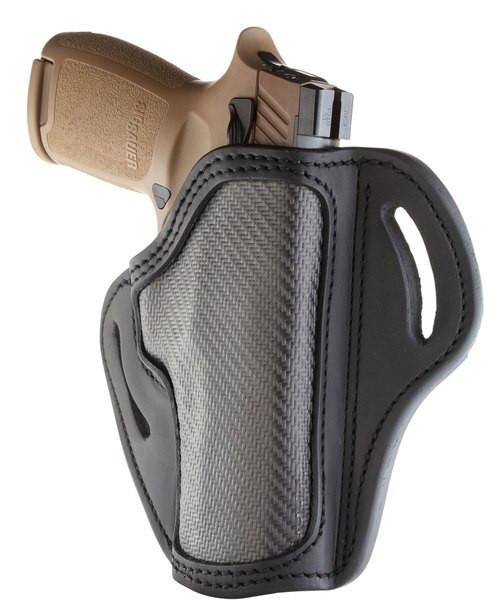 """1791, Carbon Fiber Belt Holster, Size 2.4, Right Hand, Leather/Carbon Fiber, Fits XDM, XD Mod 2 4"""", FN FIVE-SEVEN USG and MK2, Stealth Black"""