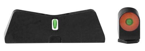 XS Sight DXT II Big Dot Glock 17/19/22-24/26/27/31-36/38 Gen1-5 Green Tritium Orange Outline Front Green Tritium White Outline Rear Black