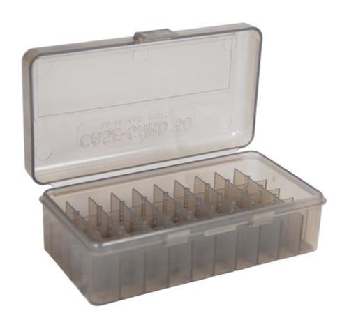 MTM Case-Gard 50-Series Handgun Ammo Box .41 Magnum to .45 Long Colt, Clear Smoke, 50rd