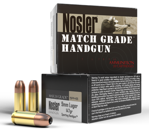 Nosler Match Grade Handgun 9mm 147gr, Jacket Hollow Point, 20rd Box