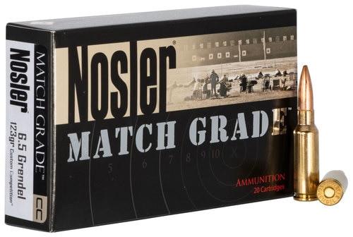 Nosler Match Grade Rifle 6.5mm Grendel 123gr, Hollow Point Boat Tail, 20rd Box
