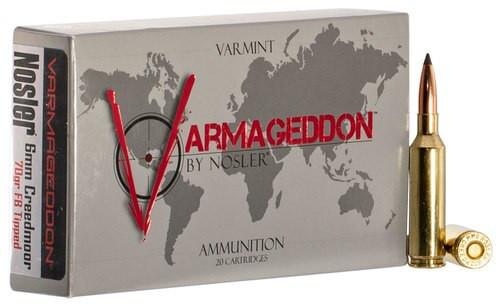Nosler Varmageddon 6mm Creedmoor 70gr, Flat Base Tip, 20rd Box