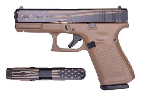 "Glock 19 Gen5 9mm, 4"" Barrel, Flat Dark Earth/Distressed Flag, 15rd"