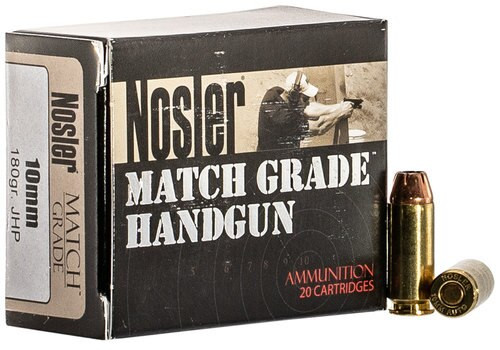 Nosler Match Grade Handgun 10mm 180gr, Jacketed Hollow Point, 50rd Box