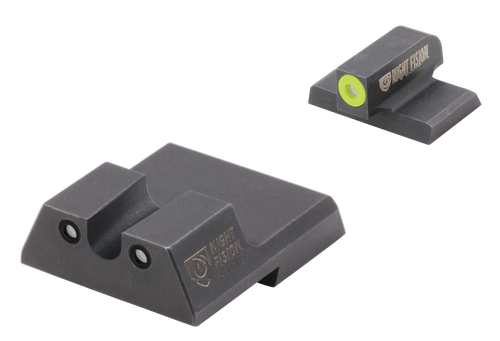 Night Fision Night Sight Set Square Front/U-Notch Rear HK VP9/VP40/P30/P30SK/P30L/45/45 Tactical Green Tritium Yellow Outline Front Green Black Outline Rear Black