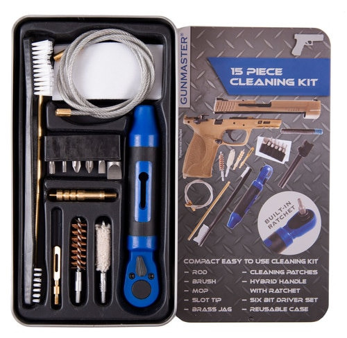 DAC Gunmaster .40 Pistol Cleaning Kit, 15 Pieces, 40/10MM, Includes Ratchet Handle and Bit Set, Slim Line Metal Case