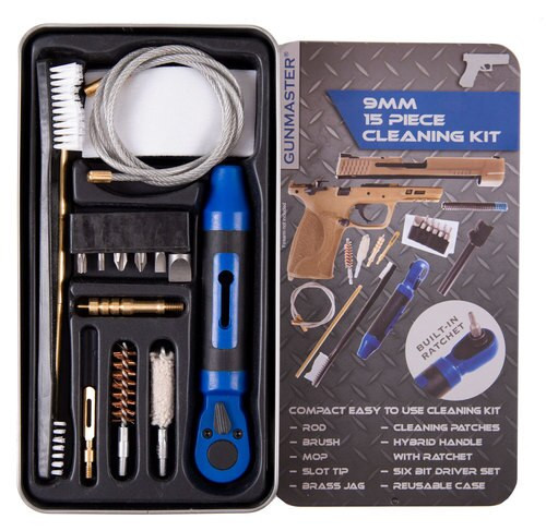 DAC Gunmaster 9mm Pistol Cleaning Kit, 15 Pieces, 9/380/38/357 Cal, Includes Ratchet Handle and Bit Set, Slim Line Metal Case