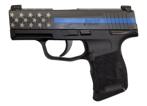 "Sig P365 9mm, 3"" Barrel, XRay3 Night Sights, Manual Safety, Blue Line Police, 10rd"
