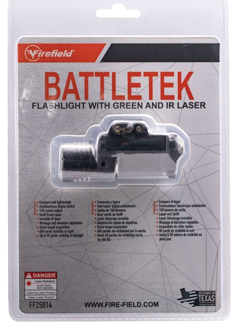 Firefield BattleTek Laser/Flashlight LED 150 Lumens CR123A (included) Battery Black Glass Filled Nylon Polymer