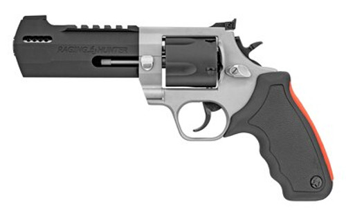 "Taurus Raging Hunter 454 Casull, 5.125"", Black Rubber Cushion Insert Grip, Stainless, 5rd"