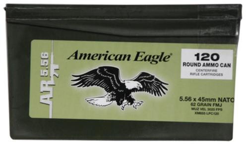 Federal American Eagle AR 5.56mm 62gr, Full Metal Jacket, 120rd/Mini Ammo Can
