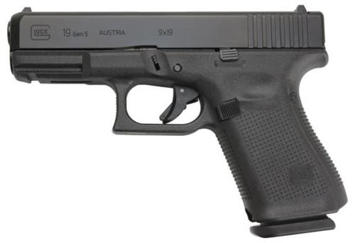 "Glock G19 Gen5, 9mm, 4"" Barrel, Fixed Sights, Modular Backstrap, 15rd"