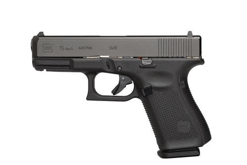 "Glock G19 Gen5, 9mm 4"" Barrel, Fixed Sights, Modular Backstrap, 10rd Mag"
