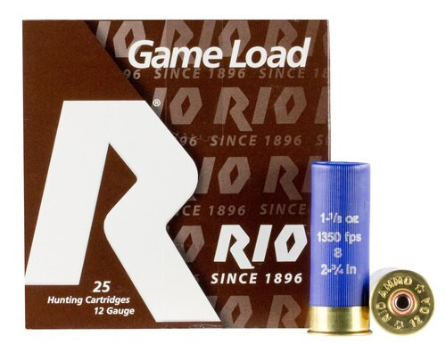 "Rio Standard Game Load 12 Ga, 2.75"", 1 1/8oz, 8 Shot, 25rd Box"