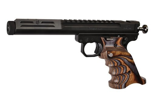 "Volquartsen Scorpion .22 LR, 6"" Barrel, Target 22 Frame, Brown/Gray Grips, Black Stainless"