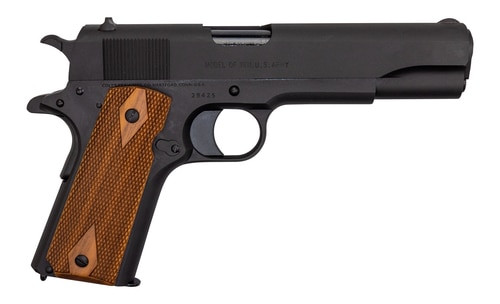 "Colt's Manufacturing Military Retro Reproduction, Full Size 1911, 45ACP, 5"" Barrel, Steel Frame, Matte Blued Finish, Wood Grips, Fixed Sights, Original Rollmarks, Limited Production, 7Rd, 1 Magazine"