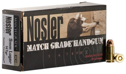 Nosler Match Grade 9mm 147gr, Jacketed Hollow Point, 50rd Box