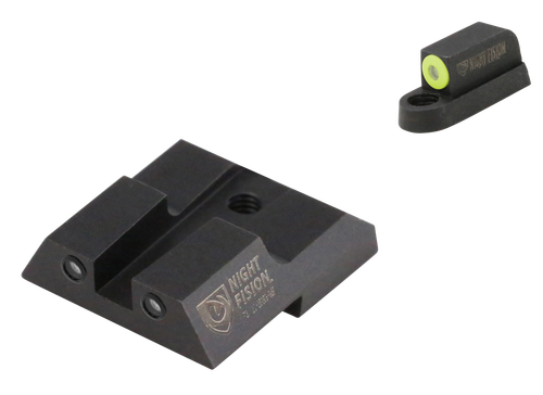 Night Fision Night Sight Set Square CZ P-07/P-09/P-10, Green Tritium Yellow Outline Front, Green Black Outline Rear Black