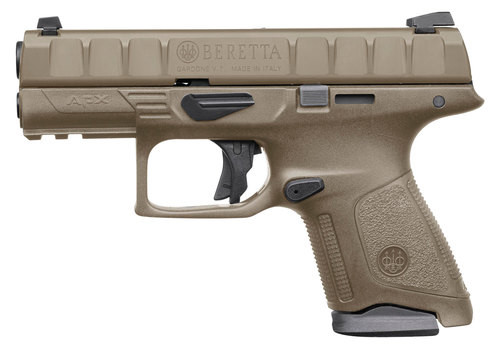 "Beretta APX Compact 9mm, 3.70"" Barrel, Flat Dark Earth, 3 Dot Removable Sight, 10rd"