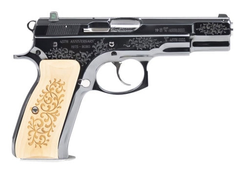 "CZ 75B 45TH Anniversary DA/SA, Full Size, 9mm, 4.6"" Barrel, Steel Frame, High Gloss Blued Finish, Wood Grips, 16Rd, Swappable Safety/Decocker, Night Sights"