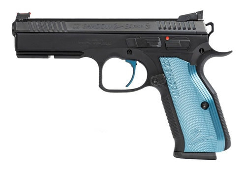 "CZ Shadow 2 Single Action Only, Full Size Pistol, 9mm, 4.89"" Barrel, Steel Frame, Black, Aluminum Blue Grips, 17Rd, 3 Magazines, with Rail, Ambidextrous Safety, Adjustable Sights"