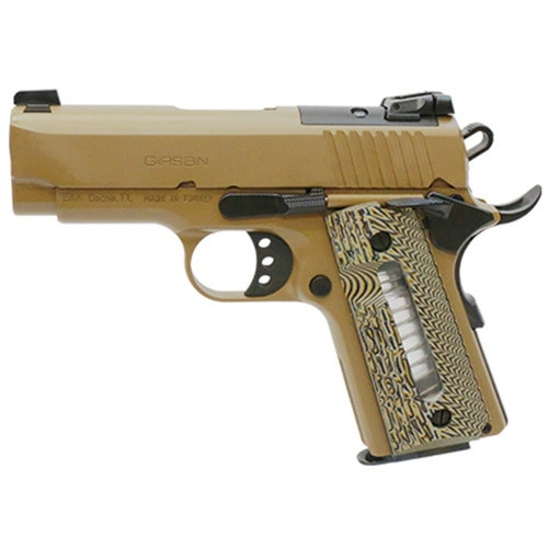 "Girsan MC1911 Ultimate 45 ACP, 3.4"" Barrel, Flat Dark Earth G10, Capacity Window Grip, 6rd"