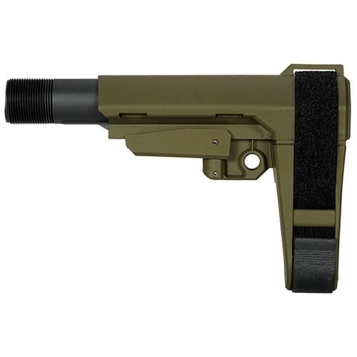 SB Tactical SBA3 Stabilizing Brace, 5 Position Adjustable, Incudes 6 Position Carbine Receiver Extension, Olive DrabGreen Color