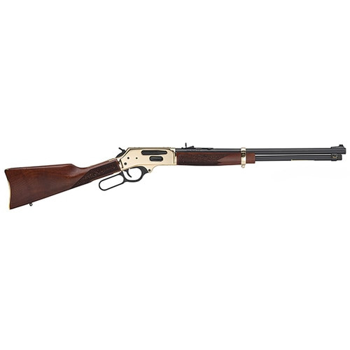 "Henry Side Gate Lever Action, 45-70 Government, 20"" Brass Brass Receiver, Walnut Stock, 4Rd, Fully Adjustable Semi-Buckhorn Sights"
